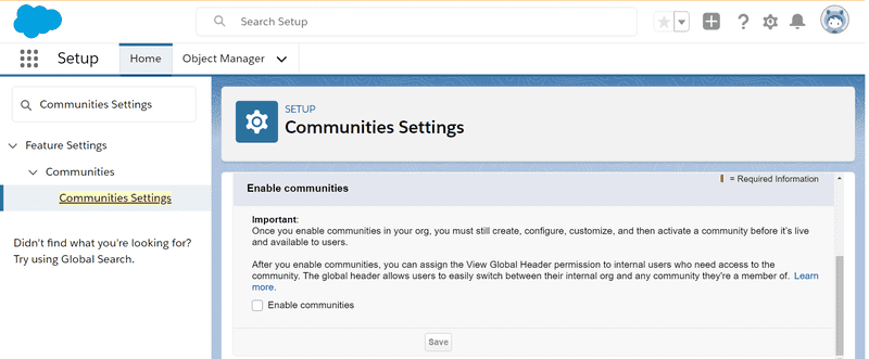 Fig: Step to find the community settings